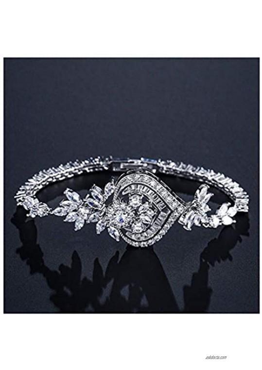 Giwotu Womens Bracelets New Luxury Chandelier Flower Chain Link Bracelets for Elegent Women Marquise CZ Brincos Bridal Wedding Jewelry Fsbp2040