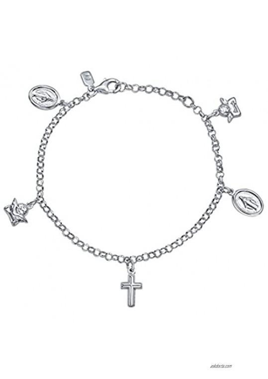Protection Religious Medal Multi Virgin Mary Cross Angels Dangle Charm Bracelet For Women For Teen 925 Sterling Silver