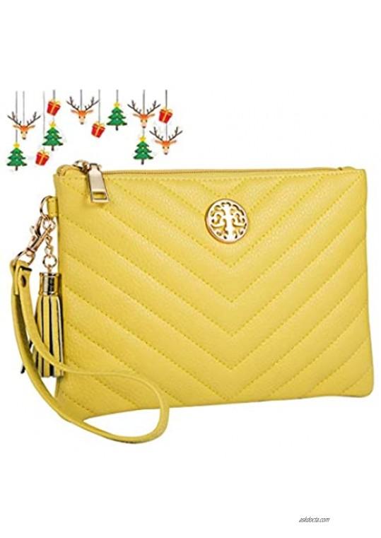 Heaye Wristlet Wallet Purse for Women Large Capacity Clutch with Tassel Zipper