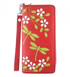 LAVISHY Dragonfly & Flower Applique Vegan/Faux Leather Large Wristlet Wallet