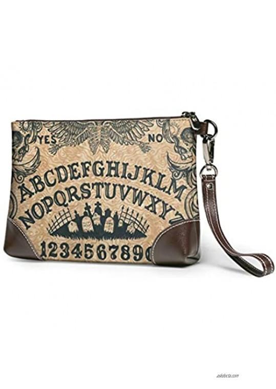 Ouija Board Art Leather Wristlet Clutch Bag Zipper Handbags Purses For Women Phone Wallets With Strap Card Slots