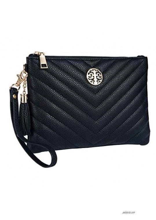 PUFER Women Wristlet Wallet Purse Clutch with Card Slots