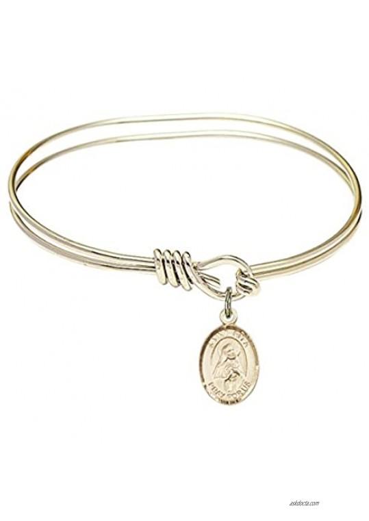 Bonyak Jewelry Oval Eye Hook Bangle Bracelet w/St. Rita of Cascia in Gold-Filled