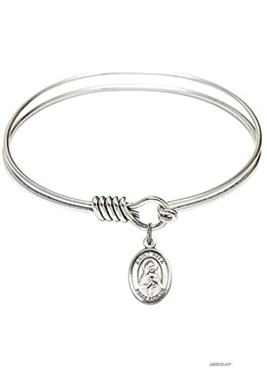 Bonyak Jewelry Round Eye Hook Bangle Bracelet w/St. Rita of Cascia in Sterling Silver