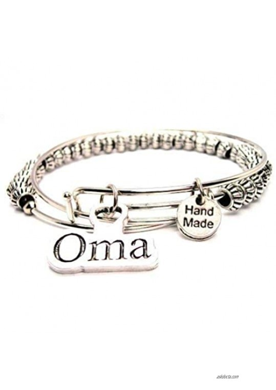 ChubbyChicoCharms Oma Beaded Expandable Wire Bangle American Made