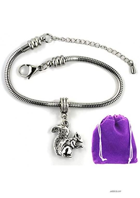 Dave The Bunny Squirrel Bracelet | Stainless Steel Snake Chain Bracelet