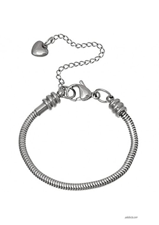 European Style Stainless Steel Snake Chain Charm Bracelet with Heart Lobster Clasp
