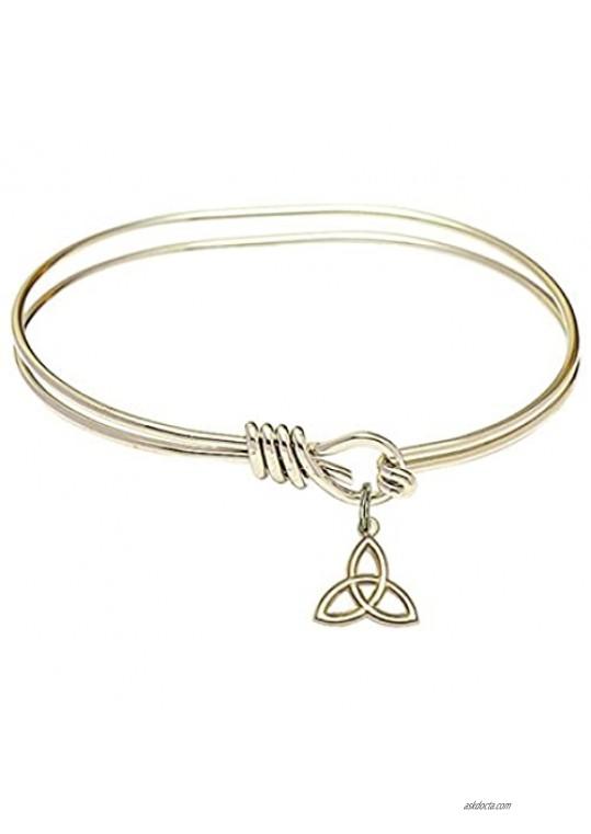 Oval Eye Hook Bangle Bracelet w/Trinity Irish Knot in Gold-Filled