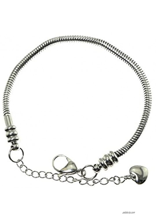 """RLECS 7"""" Bead Charms Bracelet Stainless Steel European Style Snake Chain Starter with Lobster Clasp"""