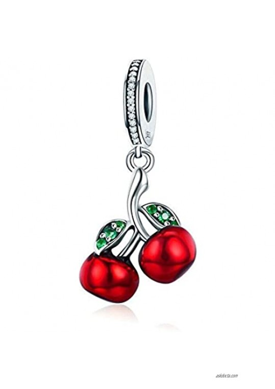 ABAOLA Cherry Dangle 925 Sterling Silver Fruit Charm Beads for Fashion Charms Bracelet & Necklace