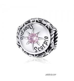 BAMOER Zodiac Star Sign Birthstone 925 Sterling Silver Charm Beads Fit For Pandora Bracelets  12 Constellations Cubic Zirconia Charm Birthday Gift