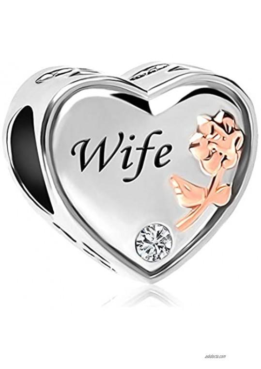 CharmSStory Wife Heart Love Bead Charm for Bracelet