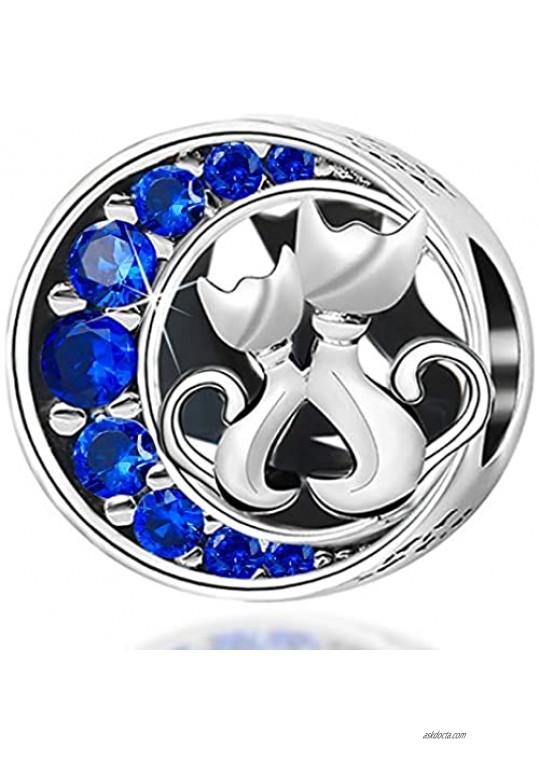 Cute Cat Bead Charms fit Pandora Charms Bracelet Blue Crystal Charm fit Snake Chain Bracelets