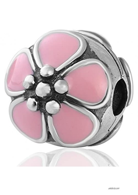 Flower Star Clip Charms Authentic 925 Sterling Silver Clip Lock Stopper Beads for European Bracelet