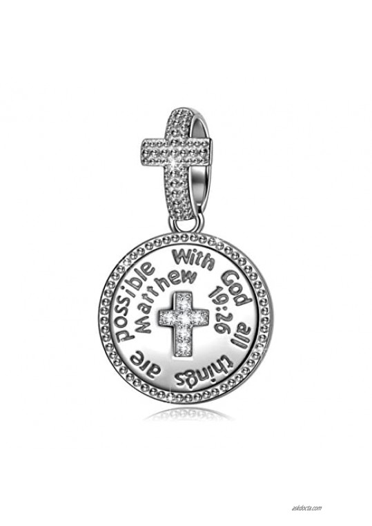 NINAQUEEN 925 Sterling Silver Charm With God All Things Are Possible Cross Religious Dangle Charms for Pandöra Bracelets Inspirational Necklaces Birthday Gifts for Girlfriend Wife