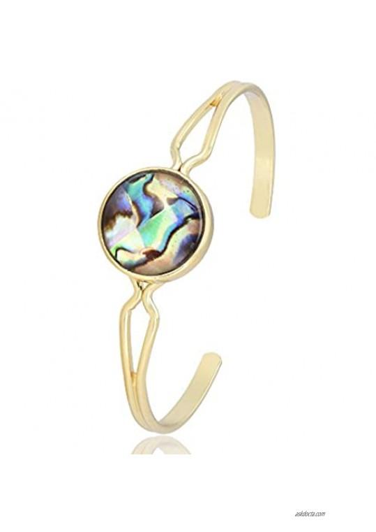 PANGRUI Simple and Cool Round Abalone Shell Charm Open Cuff Bangle Bracelet