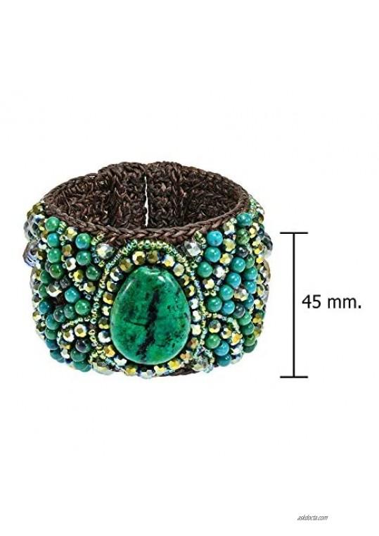 Boho Chic Floral and Green Malachite Teardrop Accents Mosaic Crystals Cuff Bracelett
