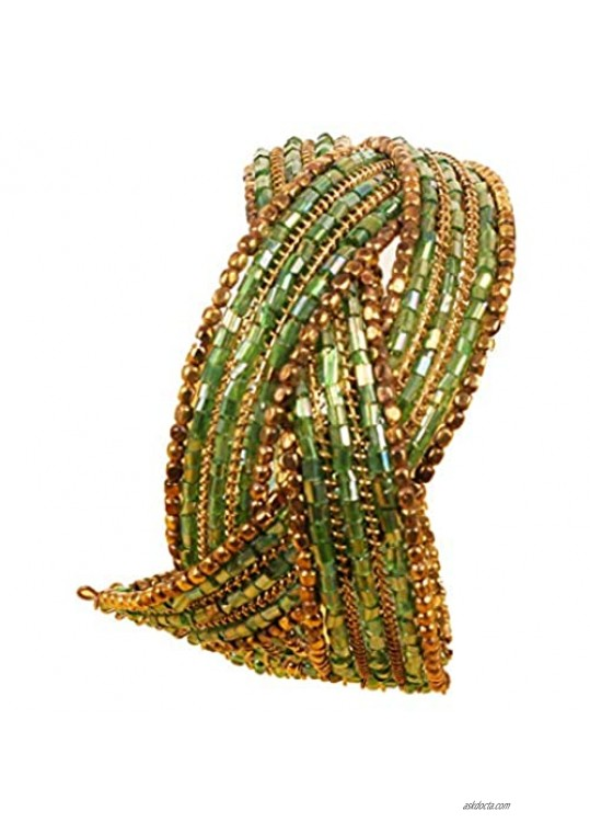 Touchstone New Indian Colorful Bead Bracelet Bollywood Beaten Metal Beads openable Broad Cuff Bracelet in Gold Tone for Women.