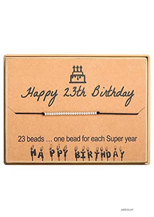 Happy Birthday Gifts Bracelet S925 Sterling Silver Beads Bracelet on Adjustable Gift for Women Girls 11st 12th 13th 14th 15th 16th 17th 18th 19th 20th 21th 25th 30th