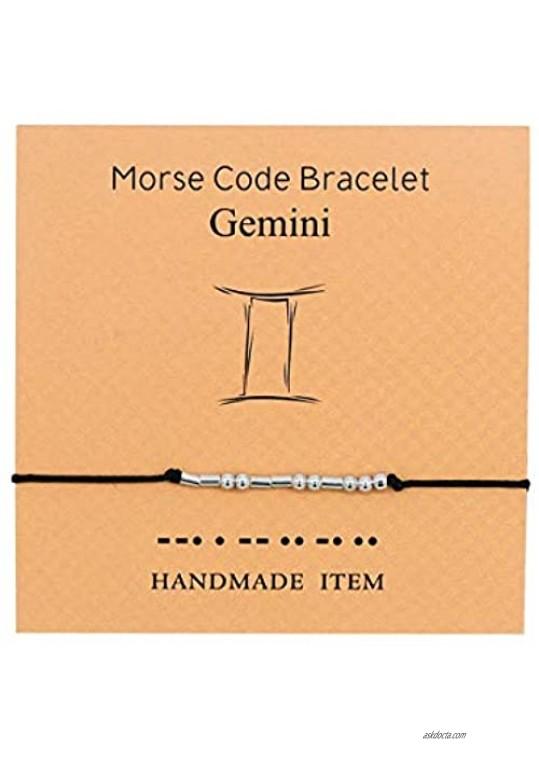 Morse Code Bracelet Constellations Zodiac Sign Bracelet for Women Girls Bracelet Adjustable Wax Rope for Women Gold Plated Horoscope Sign Necklaces and Bracelet Constellation Set Gifts(Gemini)