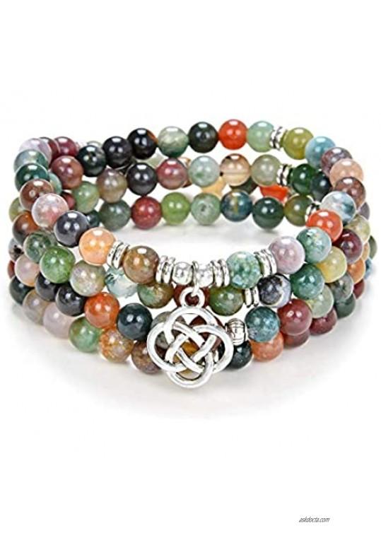 oasymala 108 Mala Meditation Beads Yoga Bracelet or Necklace with Celtic Knot Charm